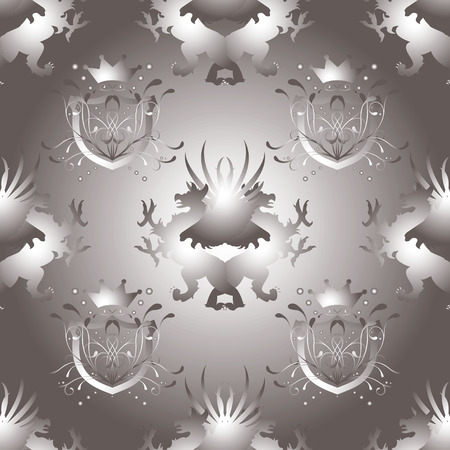 royal seamless repeat background design in gray and silver Vector