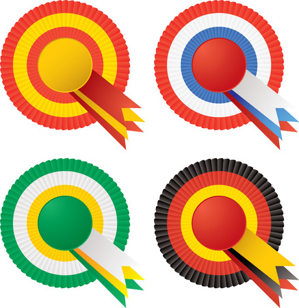 escarapelas: Cuatro rosetas en diferentes variaciones de color con copia espacio  Vectores