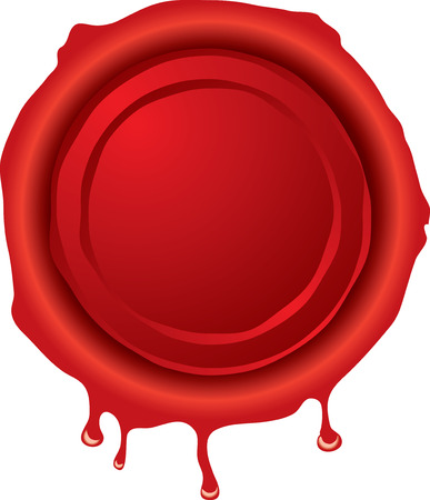 bevel: Illustration of an old fashioned hot wax seal in red