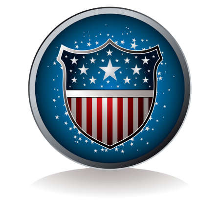 freedom logo: Am�rica inspirado insignia con gota de sombra y la estrella de fondo