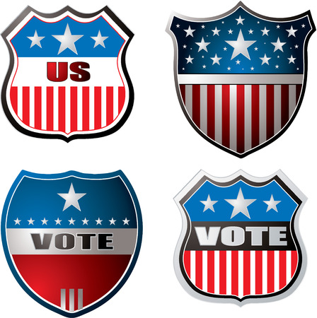 voter: American inspired shields in red white and blue Illustration