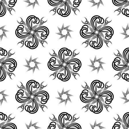 seamless repeating black and white tattoo designed background Vector