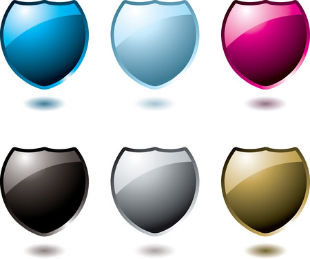 collection of six shield in a variation of colours