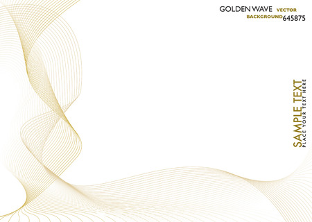 Abstract flowing golden lines with white copy space Stock Vector - 2711420