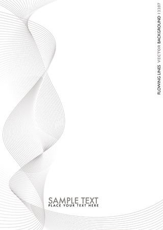Abstract flowing silver lines with white copy space
