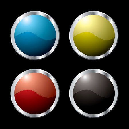 Collection of four buttons in vaus colors and a metal surround Stock Vector - 2722553
