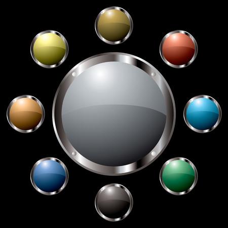 metalic: Button bunte Sammlung alle mit metallischem Silber bevels