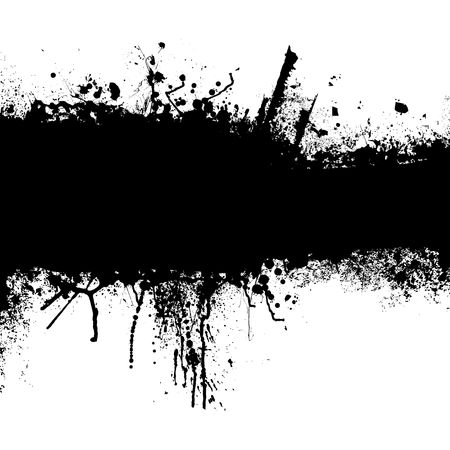 dribble: Grunge banner with an inky dribble strip with copy space Stock Photo