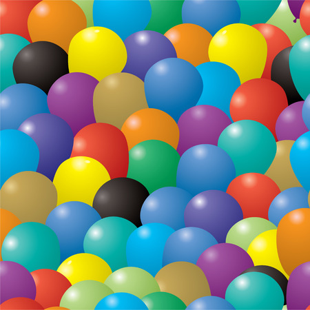 seamless repeating illustrated balloon background in various colors Vector