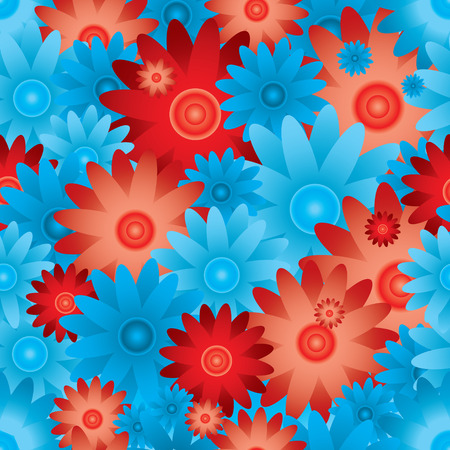 exoticism: floral inspired red and blue seamless background with no join Illustration