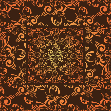 Grunge floral seamless wallpaper design in orange and maroon Vector