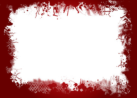 dirty ink and halftone border in blood red Illustration