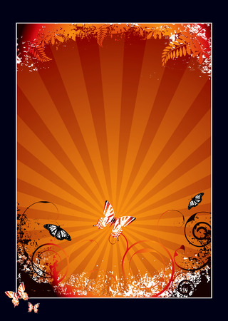 Nature inspired orange and black background with butterflie Stock Vector - 2862951