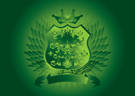 Historic shield type background in green with wings Vector