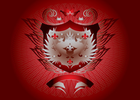 Historic shield type background in red and silver Illustration