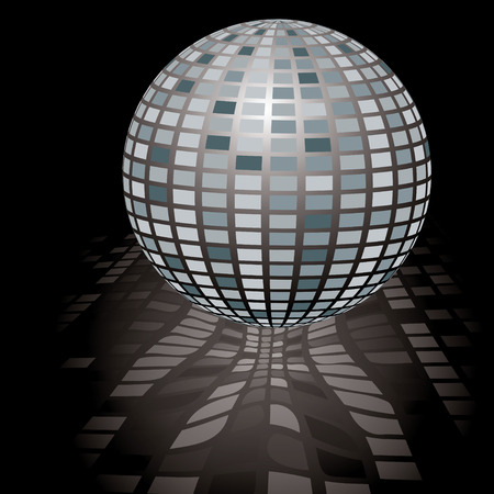 Illustration of a seventies style disco ball with reflection Vector