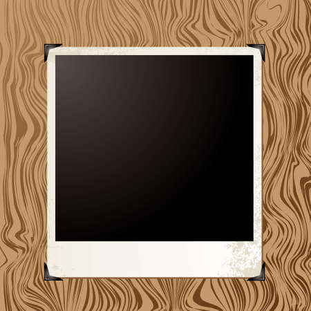 placeholder: Blank image placeholder on a wood grain background