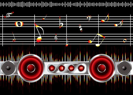 Musical inspired background black image with music notes Vector