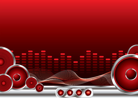 abstract music background in red and black with copy space Stock Vector - 2874600