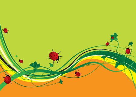 Green and orange abstract background with ladybirds eating Vector