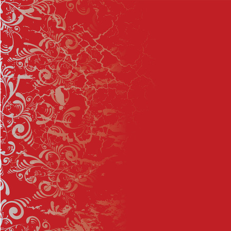 Red and silver tile background with a floral design Vector