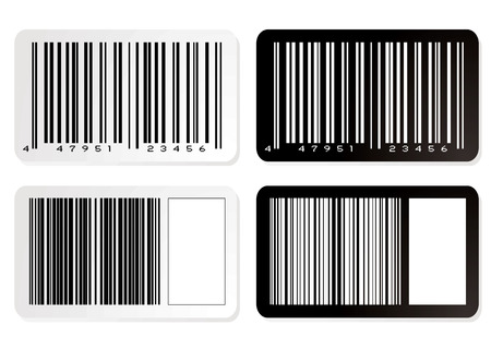 Barcode illustration label in negative with drop shadow Vector