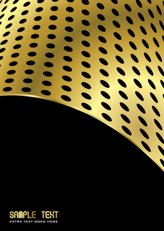 perforated: abstract gold metal background with room to add your own copy