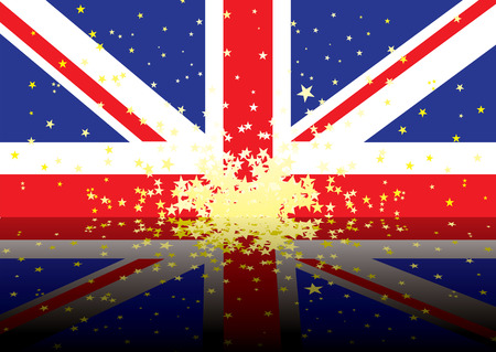 reflected version of the british national flag with stars Stock Vector - 2998652