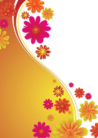 Illustrated floral background with colorful flowers on a orange gradient Stock Photo - 3083777