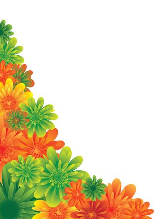 Illustrated floral background with colorful flowers in the corne