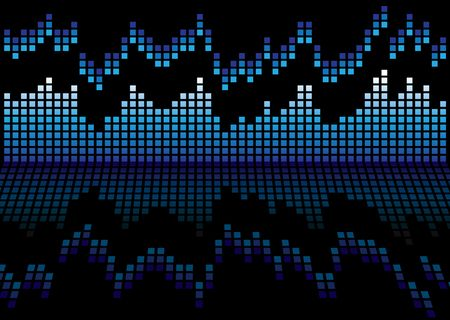 Blue and black graphic equalizer that is reflected on a shiny surface Stock Photo