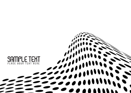 Surf wave made out of halftone dots in a stark black and white image