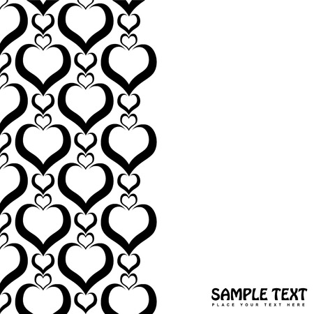 Illustrated love heart background border in black and white