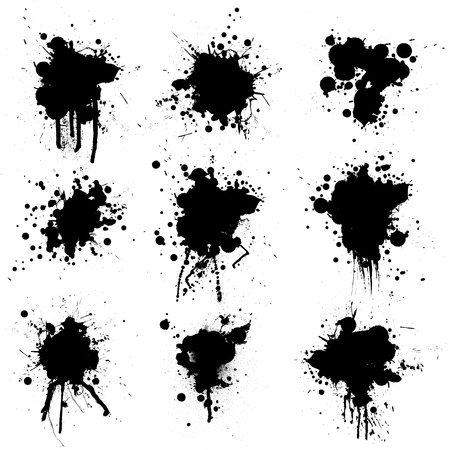 Illustrated ink bloat collection in black and white Stock Vector - 3041166
