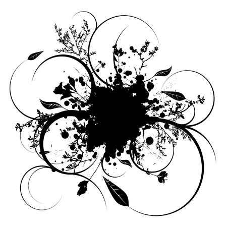Illustrated ink splat with room to add your own text Illustration