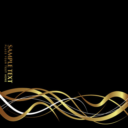 gold brown: Abstract wave design in black and gold with copy space