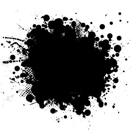 half tone: Ink splat in black with half tone pattern