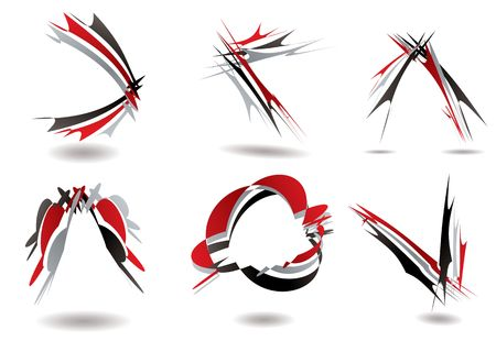 Collection of six ribbon design that could be used as a logo Stock Photo - 3199744