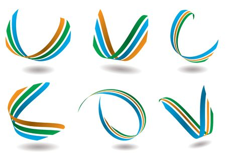 Collection of six ribbon design that could be used as a logo Stock Photo - 3199743