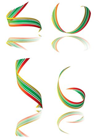 Illustrated collection of bright colored ribbons with shadow Stock Photo - 3199880