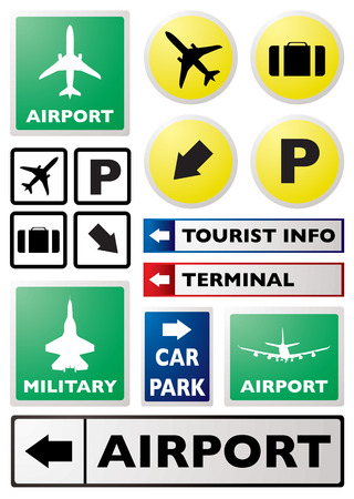 Illustration of a collection of airport sign in different colours
