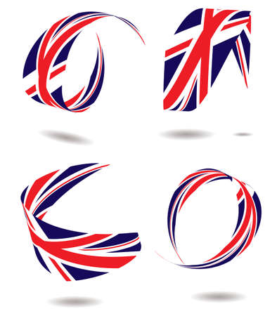 united kingdom: British flag wrapped around itself with a drop shadow