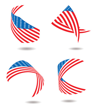 Us flags in different twisted poses and a drop shadow Vector