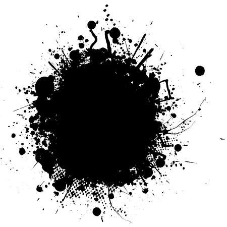 ink splat: Resumen ilustraci�n de un s�mbolo de tinta en blanco y negro