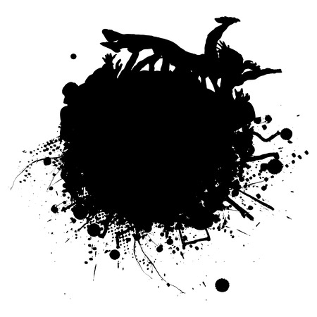 lift and carry: Ink splat with people crowd surfing in black and white