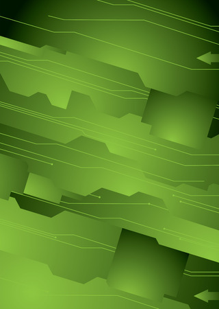 Illustrated technology concept background in green and black Vector