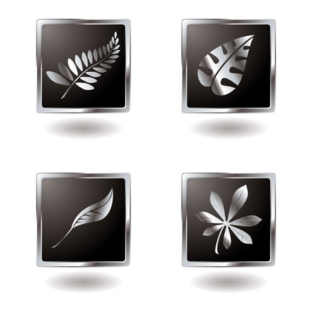 Illustrated leaf button variation with a metallic bevel Stock Vector - 3256041
