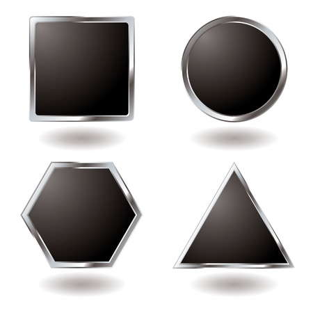 Illustrated Silver button variation with a metallic bevel Stock Vector - 3256015