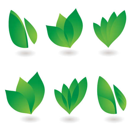 leaf logo: collection of six environmental leaf designs with shadow