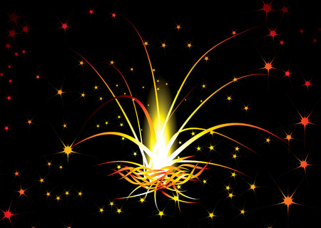 Red hot background with an illustrated fireworks explosion Stock Vector - 3260067
